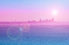 Seattle silhouette view with sun flare Royalty Free Stock Photos