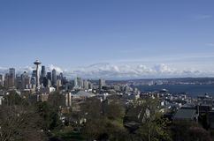 Seattle sky view. Seattle city in early spring Royalty Free Stock Photo