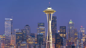 Seattle Skyline. Panoramic image of the Seattle skyline at dusk stock photos