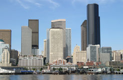Seattle Skyline. A view of downtown Seattle from the ferry Royalty Free Stock Images