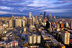 Seattle skyline. View of downtown Seattle at sunset as seen from the top of the Space Needle, Seattle's number one attraction. Spring 2010 Royalty Free Stock Images