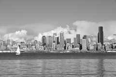 Seattle Skyline. Black and white shot of Seattle, Washington skyline as seen from the waters of Elliott Bay, Puget Sound Stock Photo