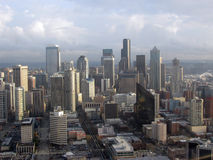 Seattle Skyline. A sky-high view of the city of Seattle, WA Stock Photos