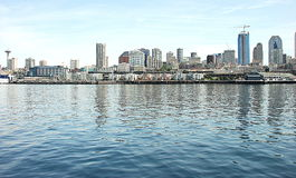 Seattle skyline. On Elliot Bay Royalty Free Stock Image