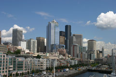 Seattle Skyline. Skyline of Seattle - Waterfront view Royalty Free Stock Photo