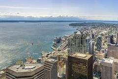 Seattle Skyline. Aerial view of Seattle. Waterfront and downtown district from the Sky View Obervatory Tower, Washington state, USA royalty free stock photos