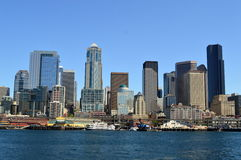 The Seattle skyline as seen from the ferry Royalty Free Stock Photo