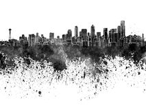 Seattle skyline in black watercolor Royalty Free Stock Photography