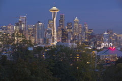 Seattle skyline at a blue hour Washington state. Stock Image