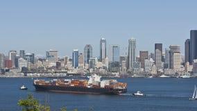 Seattle Skyline Cargo Freighter stock video footage