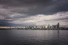 Seattle Skyline. On cloudy day from across the Puget Sound in West Seattle Stock Images