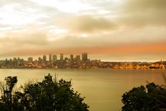 Seattle skyline at dawn royalty free stock image