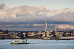 Seattle Skyline. A ferry boat cruises past the Seattle skyline and the landmark Space Needle as seen from West Seattle royalty free stock photos