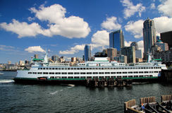 Seattle Skyline with Ferry Boat Royalty Free Stock Image
