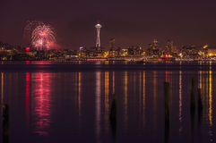 Seattle skyline and fireworks royalty free stock images