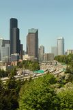 Seattle Skyline and Freeways vertical Stock Photo