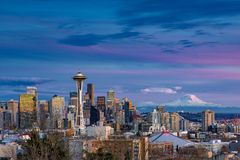 Seattle skyline. Kerry Park is probably the most picturesque location in all of Seattle. Having a combination of the Space Needle, skyline and royalty free stock images