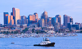 Seattle skyline on Lake Union during sunset Royalty Free Stock Image