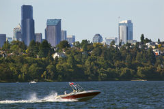 Seattle Skyline Lake Washington Seward Park Royalty Free Stock Images