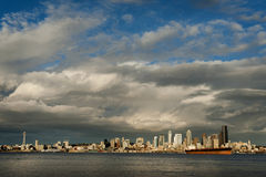 Seattle Skyline. Seattle is a major coastal seaport and is the largest city north of San Francisco. The cloudscapes in this Pacific Northwest city can be quite Stock Photography