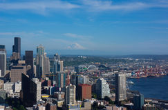 Seattle Skyline Mount Rainier stock images