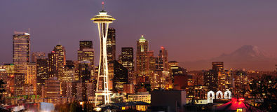 Seattle skyline and Mount Rainier panorama royalty free stock photos