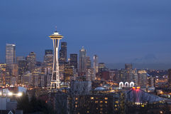 Seattle skyline with Mt Rainier. In background Stock Images