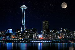 Seattle Skyline At Night Stock Photos
