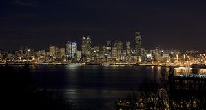 Seattle skyline at night. Night time Seattle water front sky line from across the sound stock photography