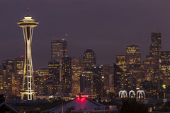 Seattle skyline at night. Royalty Free Stock Images