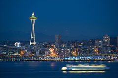 Seattle Skyline at Night. Stock Photo