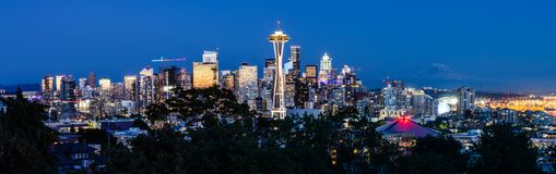 Seattle skyline at night royalty free stock photo