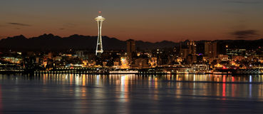 Seattle Skyline at Night by the Pier Panorama Stock Photos