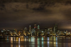 Seattle Skyline at Night Royalty Free Stock Image