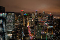 Free Seattle Skyline Office Buildings At Night Stock Photography - 82119552