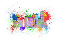 Seattle Skyline with Paint Splatter Illustration Stock Photography