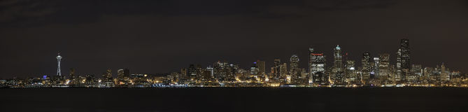 Seattle Skyline Panorama at Night Stock Photography