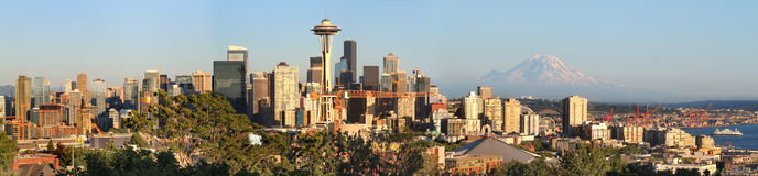 Seattle skyline panorama. At sunset as viewed from Kerry Park in Seattle, Washington state Royalty Free Stock Photography