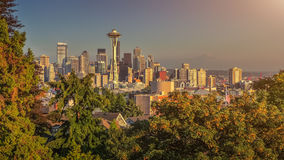 Seattle skyline panorama at sunset from Kerry Park, WA, USA Stock Images