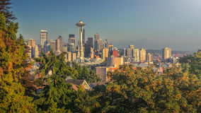 Seattle skyline panorama at sunset from Kerry Park, WA, USA Royalty Free Stock Image