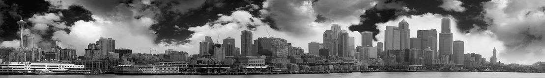 Seattle Skyline Panoramic. The Seattle skyline as seen from the water. Panoramic image Royalty Free Stock Photo