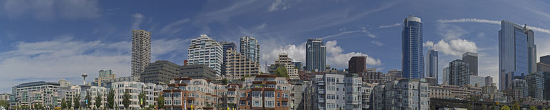 Seattle Skyline Panoramic From The Waterfront Royalty Free Stock Photography