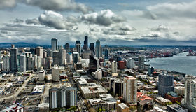 Seattle skyline and port on a cloudy day. A high altitude HDR view of Seattle skyline and Port of Seattle on a cloudy day Royalty Free Stock Photo