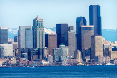 Seattle Skyline Puget Sound Cascade Mountains Washington State Royalty Free Stock Photography