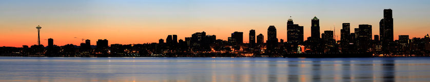 Seattle Skyline and Puget Sound at Sunrise Stock Images
