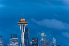 Seattle skyline, from Queen Anne Hill. Space Needle and Seattle skyline, looking south Stock Photo
