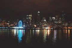 Seattle skyline reflection Stock Photography