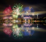 Seattle skyline and RGB fireworks with reflections Stock Photography
