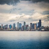 Seattle skyline from the sea royalty free stock photo