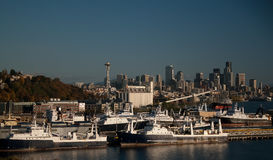 Seattle Skyline and Seafood Ships Royalty Free Stock Photo